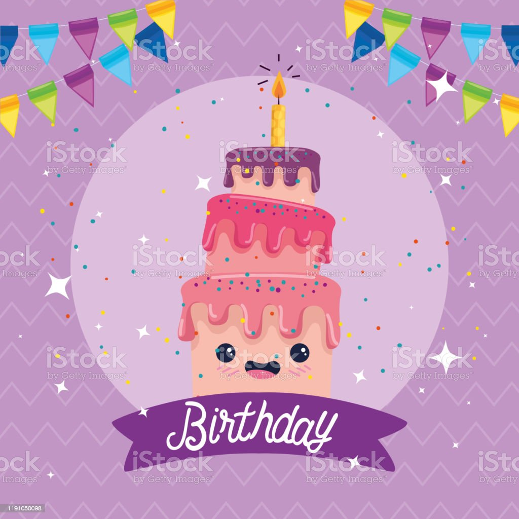 Happy Birthday Cake Cartoon Vector Design Stock Illustration Download Image Now Istock