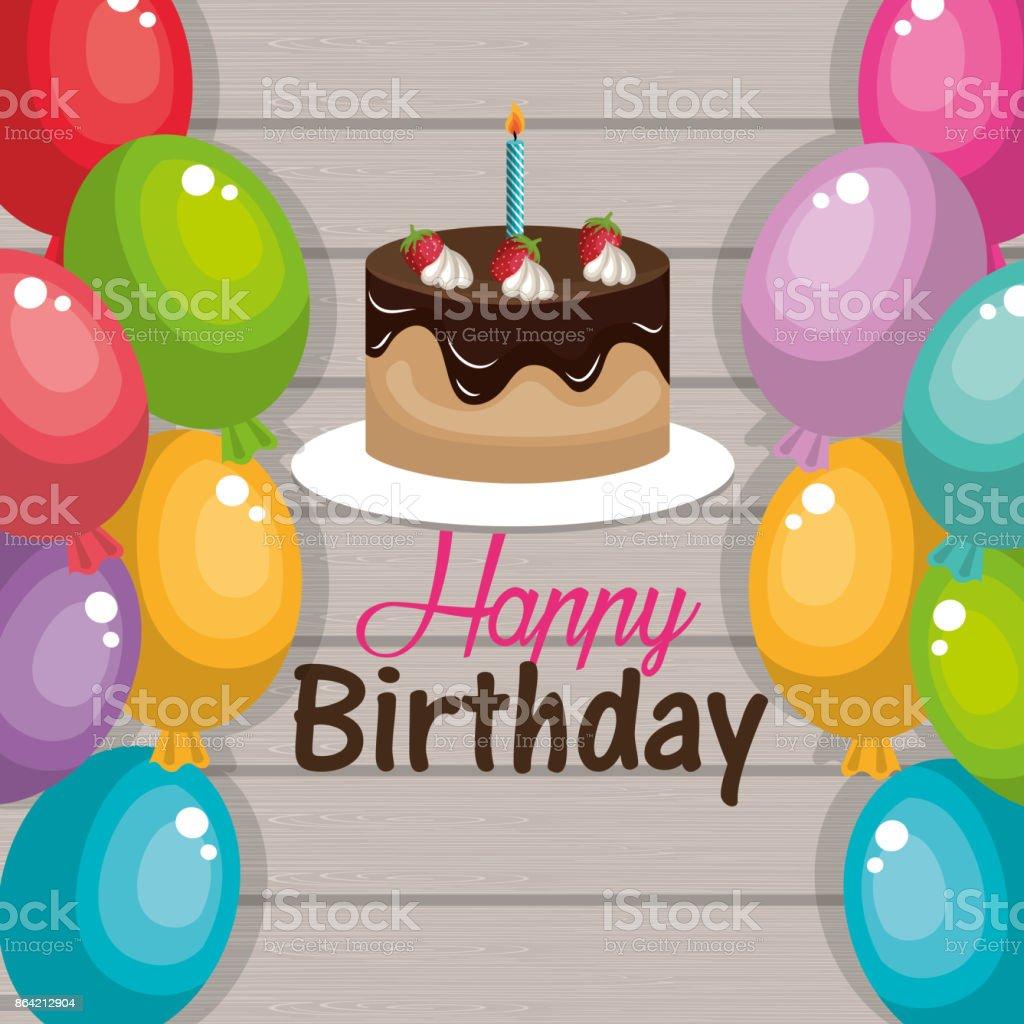 Happy Birthday Cake Chocolate Balloons Graphic stock vector art