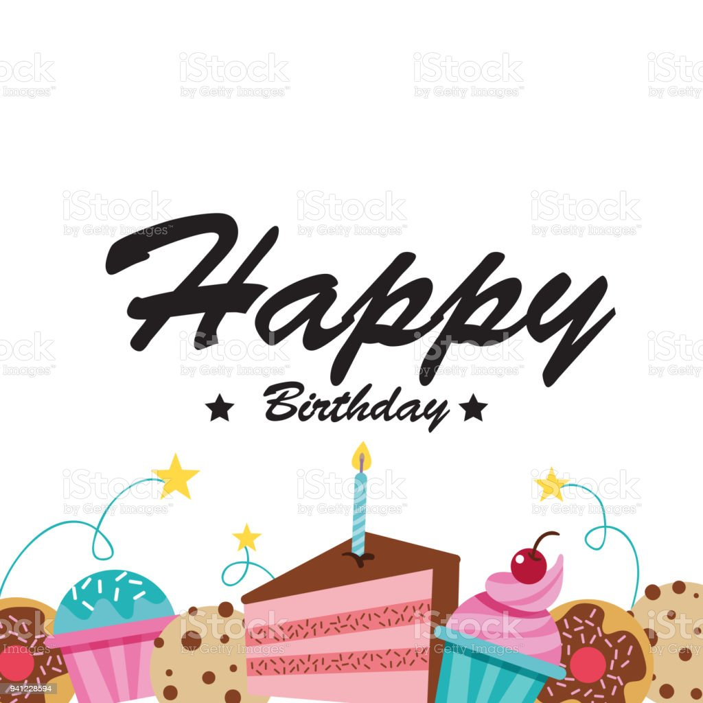 Happy Birthday Cake Cupcake White Background Vector Image Stock ...