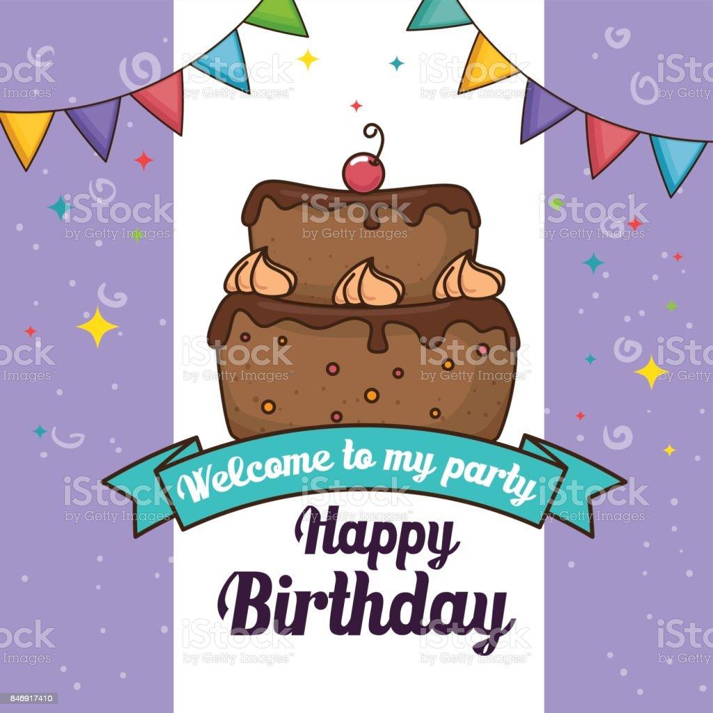 Strange Happy Birthday Cake Design Stock Illustration Download Image Now Personalised Birthday Cards Beptaeletsinfo