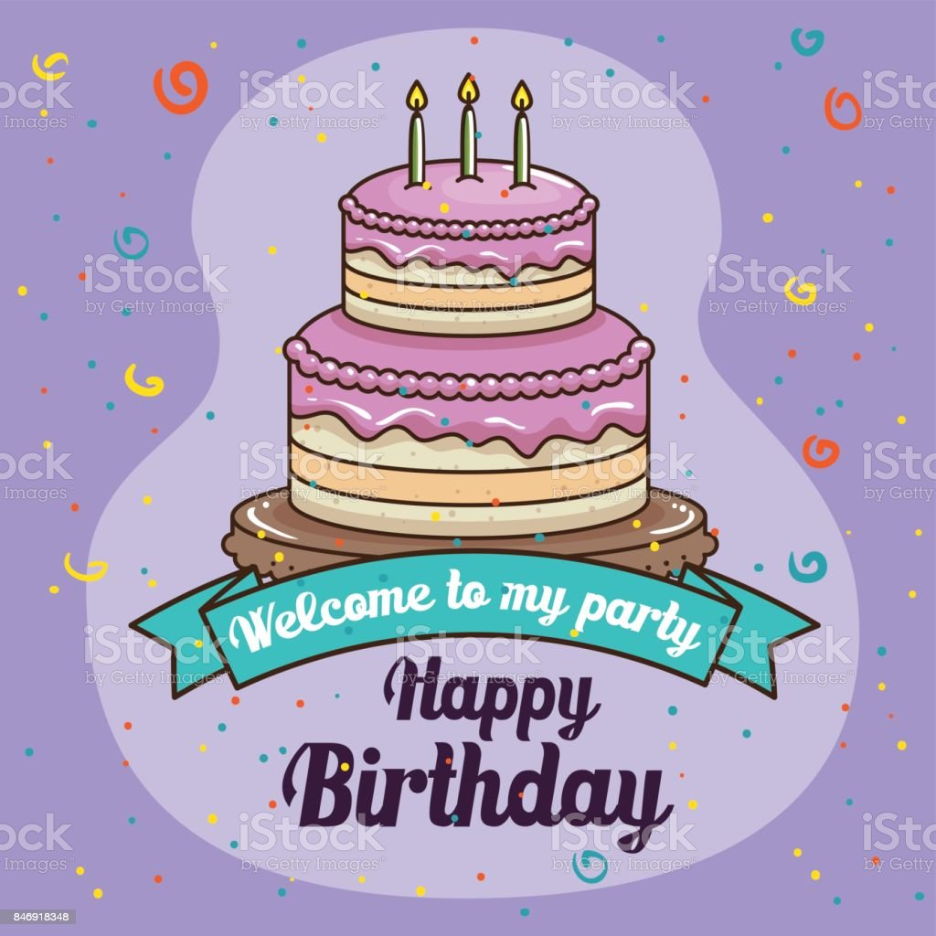 Happy Birthday Cake Design Stock Vector Art More Images Of