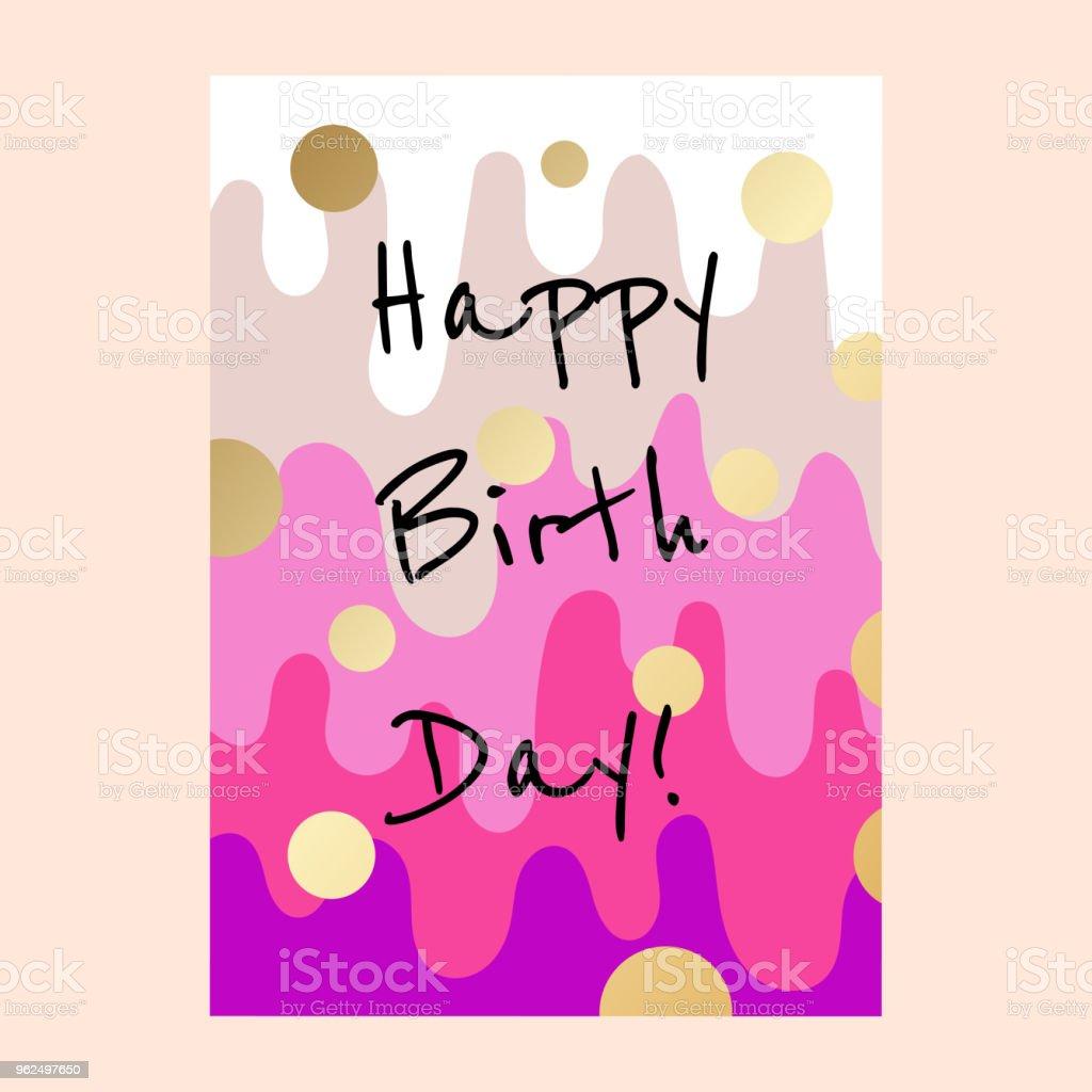 Happy Birthday Cake Layers Card Design Stock Vector Art More