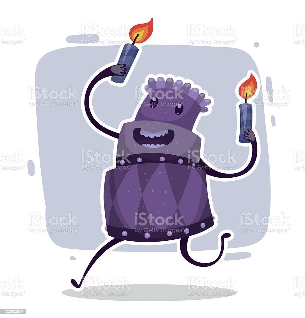 Happy Birthday Cake Purple Stock Vector Art More Images Of
