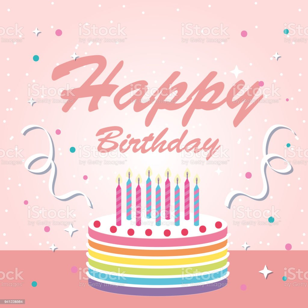 Happy Birthday Cake Ribbon Pink Background Vector Image Stock Vector