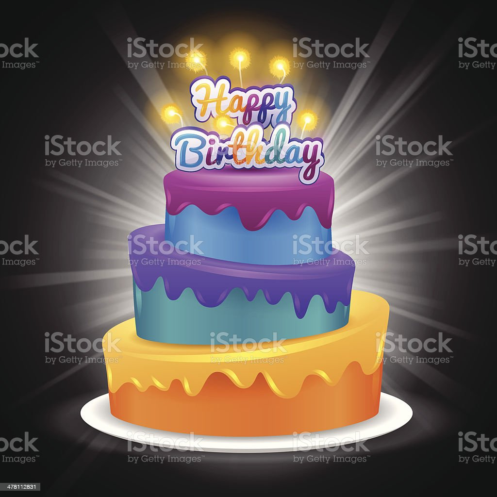 Happy Birthday Cake vector art illustration
