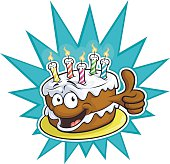 Vector Illustration of a happy birthday cake giving an enthusiastic thumbs up. File saved in layers for easy editing.