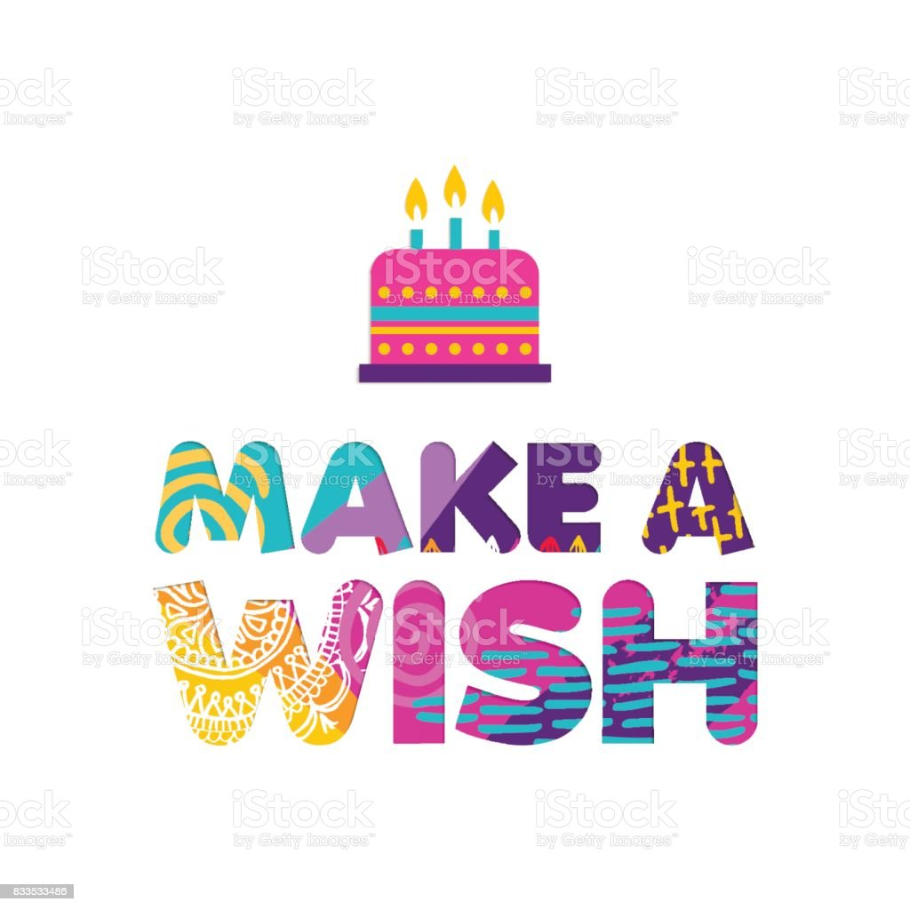Happy Birthday Cake Wish Paper Cut Greeting Card Stock Vector Art