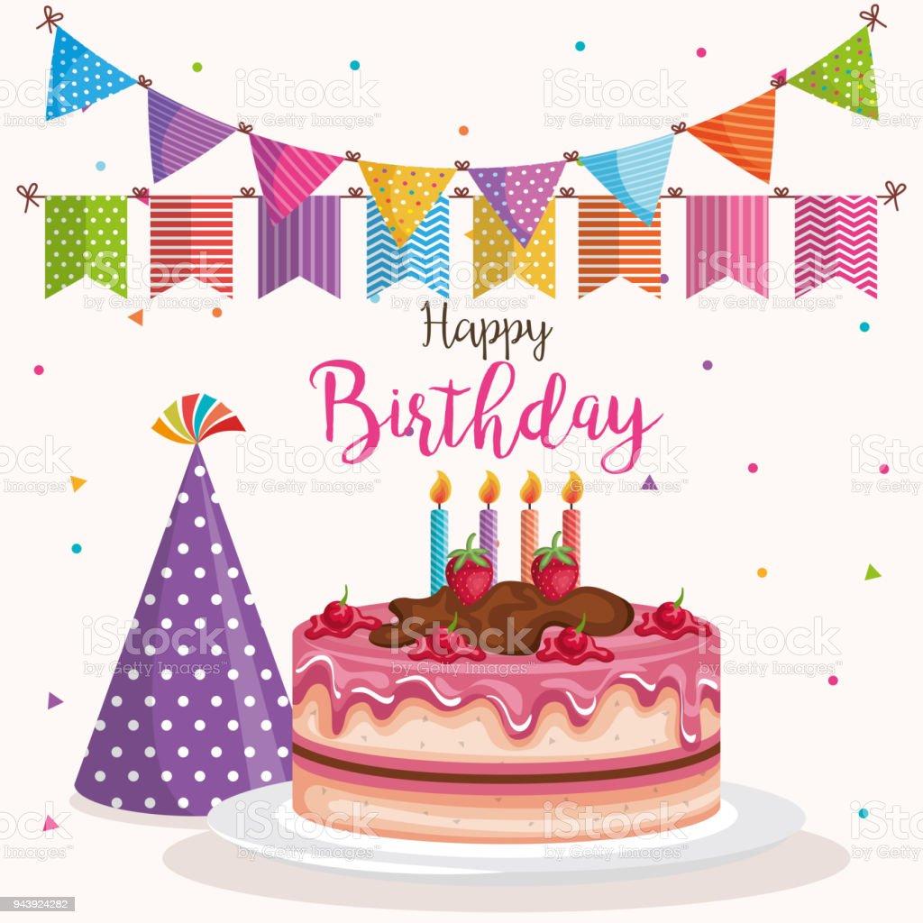 grattis med födelsedagen Grattis På Födelsedagen Kaka Med Hatt Celebration Kort  grattis med födelsedagen