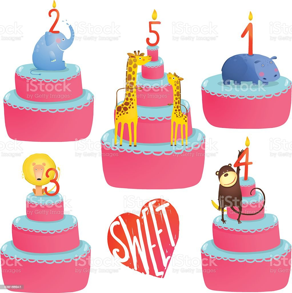 Super Happy Birthday Cakes Collection With Animals And Lettering Personalised Birthday Cards Paralily Jamesorg