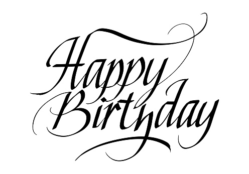 Happy Birthday Calligraphic Inscription. Calligraphic Lettering Design Template. Creative Typography for Greeting Card, Gift Poster, Banner etc.