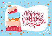 Happy Birthday calligraphic lettering text for invitation with sweet cake. Vector illustration.