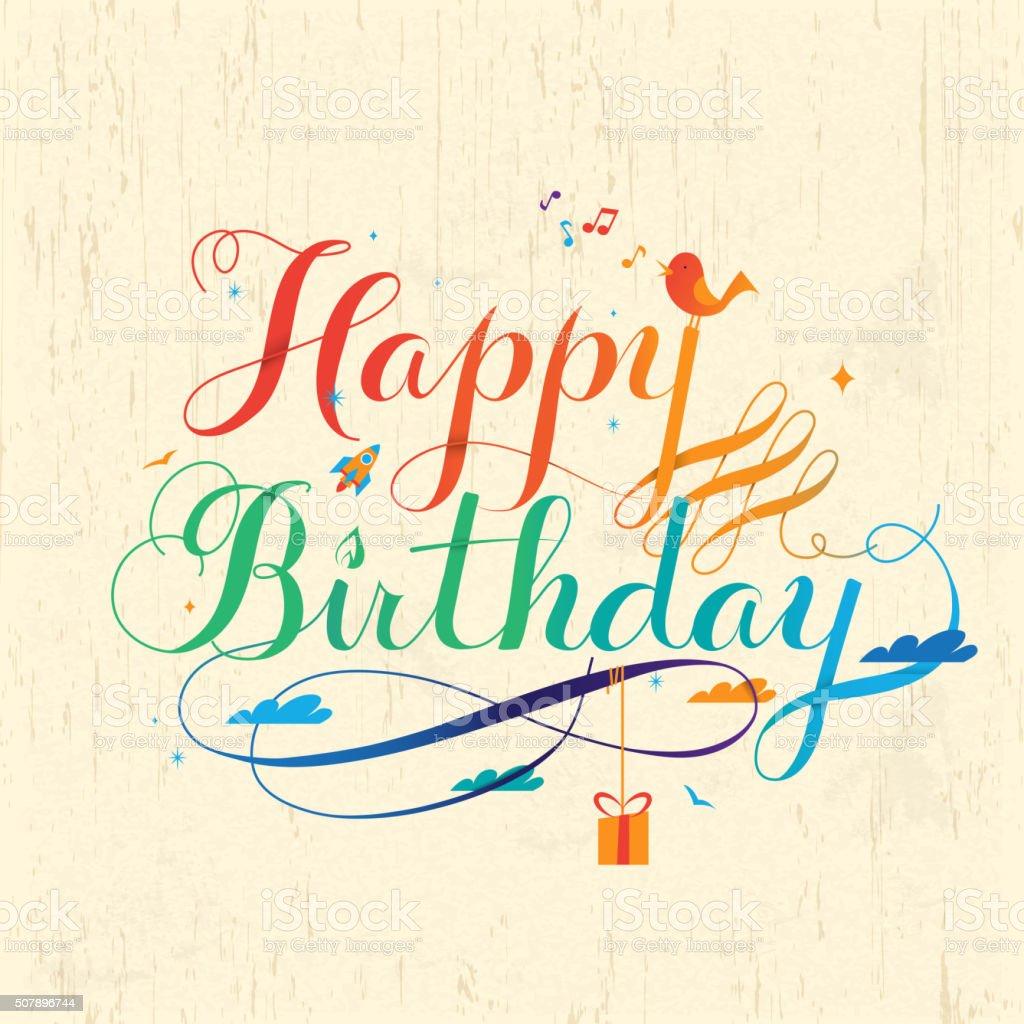 Happy Birthday Calligraphy Design Stock Illustration