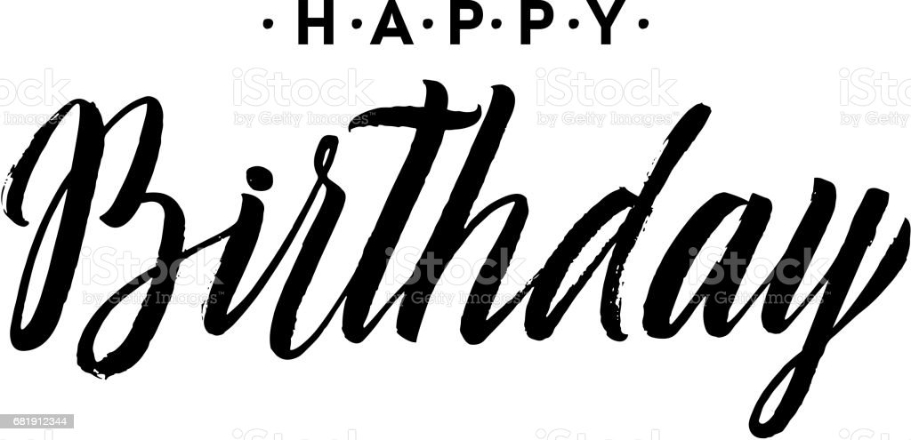 Happy Birthday Calligraphy Greeting Card Hand Lettering