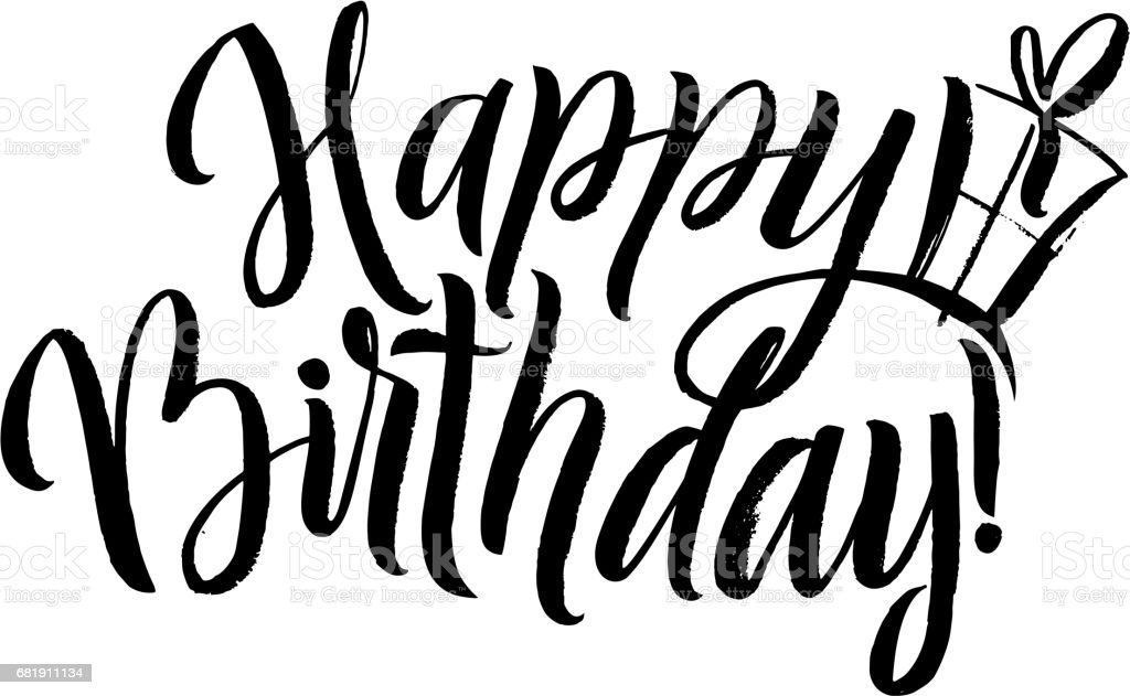 Happy Birthday Calligraphy Greeting Card With Gift Box