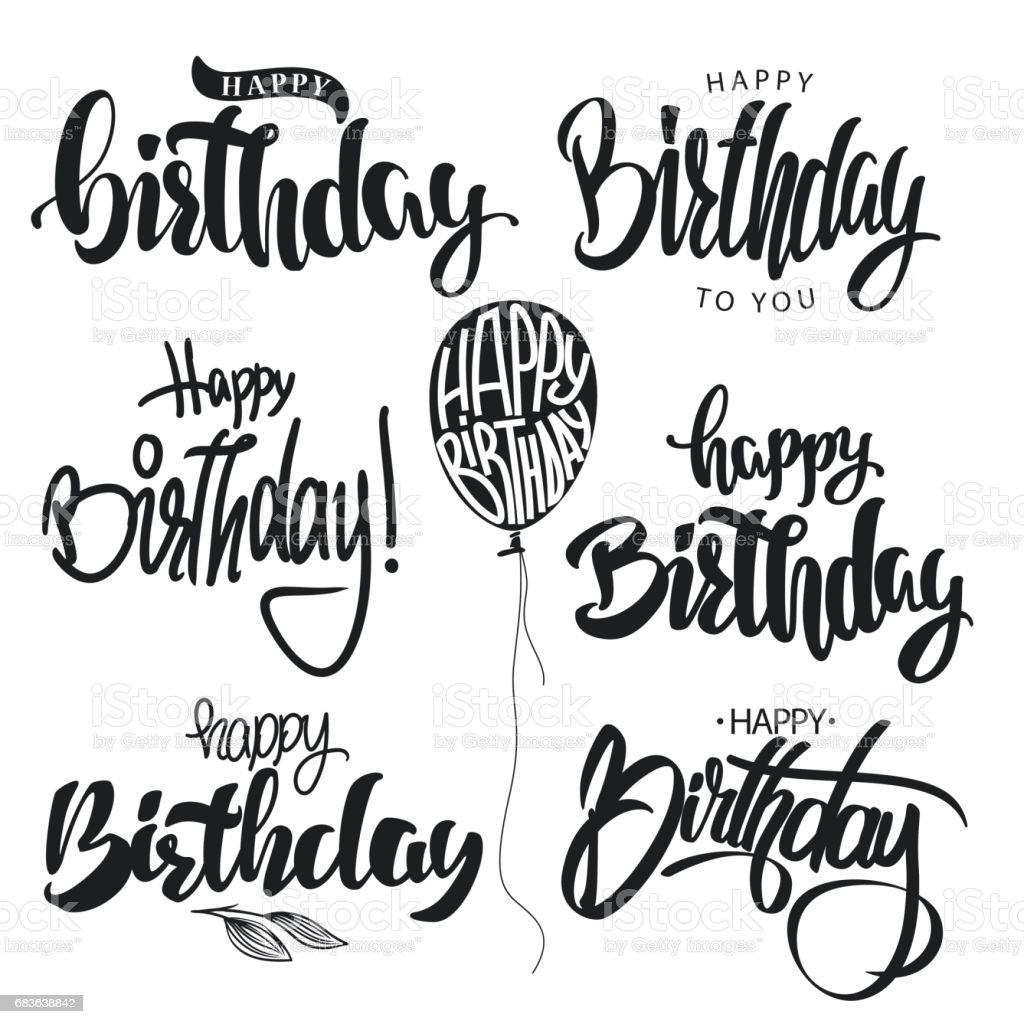 happy birthday calligraphy hand lettering set vector stock vector