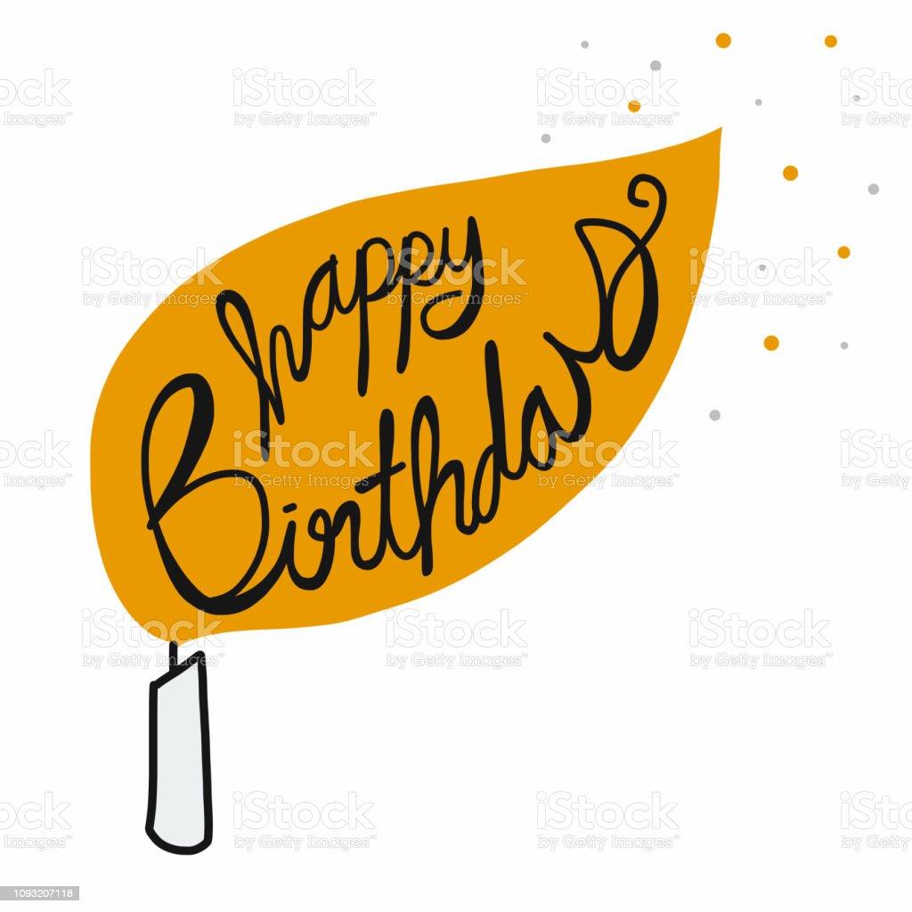 Happy Birthday Kerze Cartoon Illustration Lizenzfreies Stock Vektor Art Und Mehr