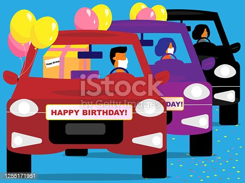 istock Happy Birthday car parade 1255171951