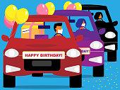 istock Happy Birthday car parade 1255171951