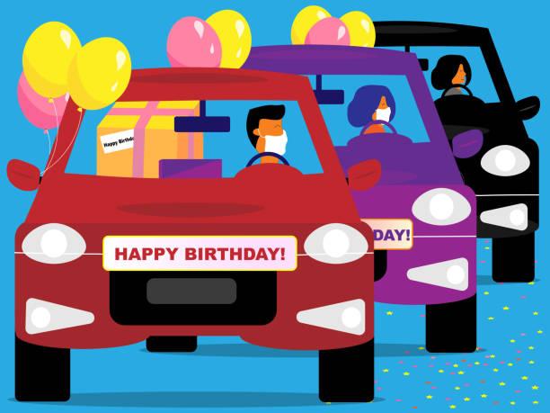 mutlu yıllar araba geçit töreni - geçit töreni stock illustrations