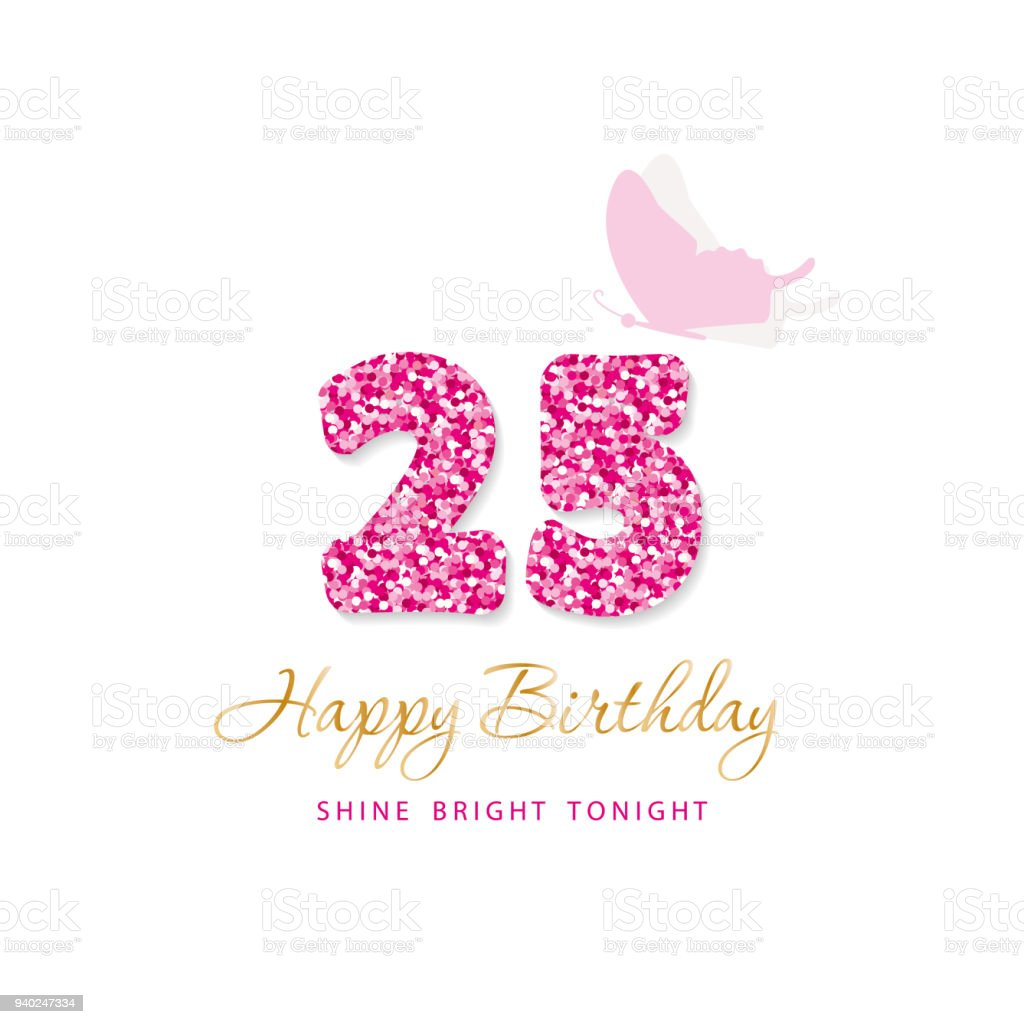 Happy Birthday Card 25. Glitzer-Nummern. Rosa und Gold. Vektor – Vektorgrafik