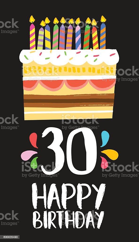 Happy Birthday card 30 thirty year cake vector art illustration