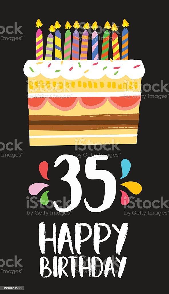 Happy Birthday Card 35 Thirty Five Year Cake Lizenzfreies