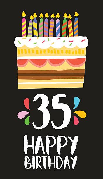 Happy Birthday Card 35 Thirty Five Year Cake Vector Art Illustration