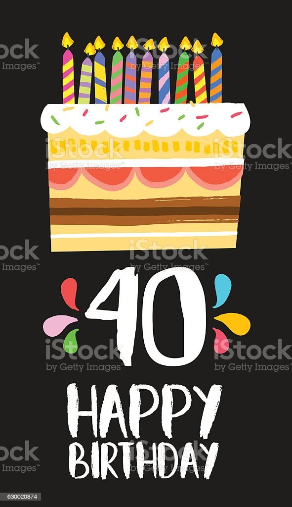 Happy Birthday Card 40 Forty Year Cake Lizenzfreies Stock