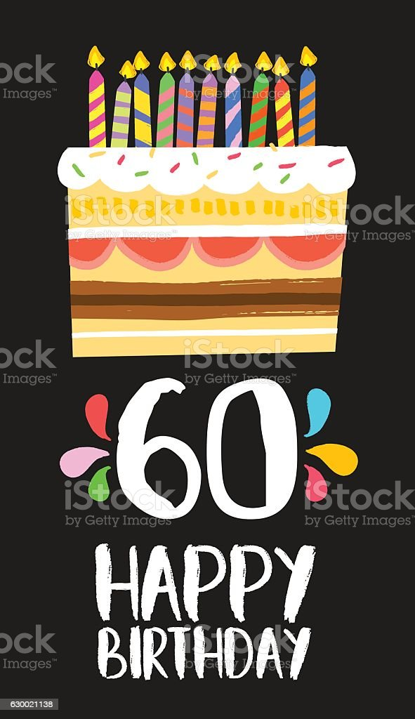 Happy Birthday card 60 sixty year cake vector art illustration
