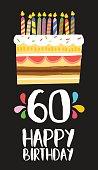 Happy Birthday card 60 sixty year cake