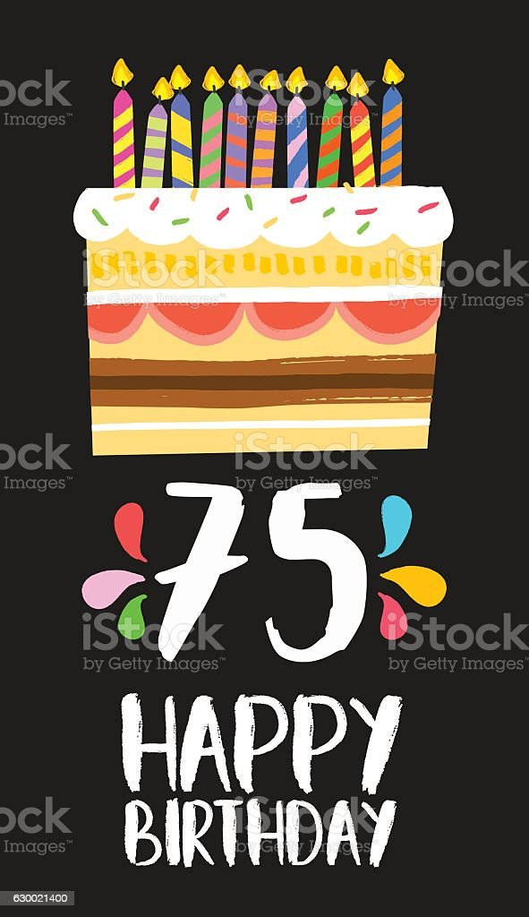 Happy Birthday Card 75 Seventy Five Year Cake Lizenzfreies