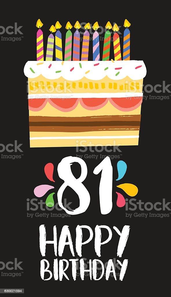 Happy Birthday Card 81 Eighty One Year Cake Lizenzfreies