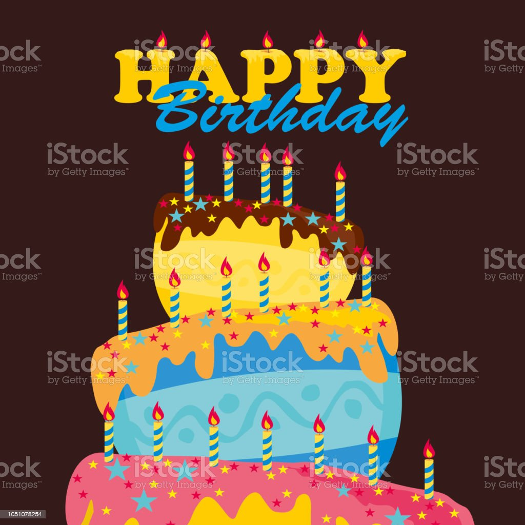 Happy Birthday Card Cake Colorful Vector Illustration Royalty Free