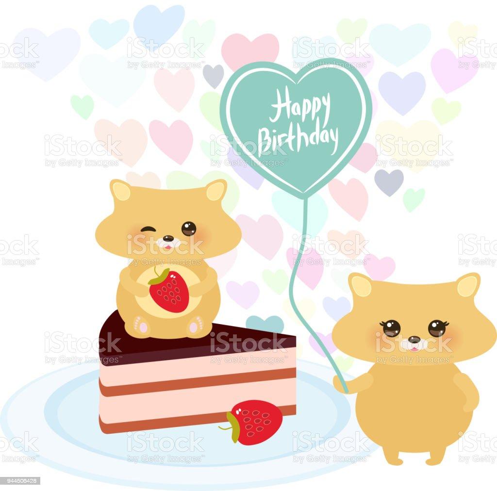 Happy Birthday Card Cute Kawaii Hamster With Balloon In The Shape Of