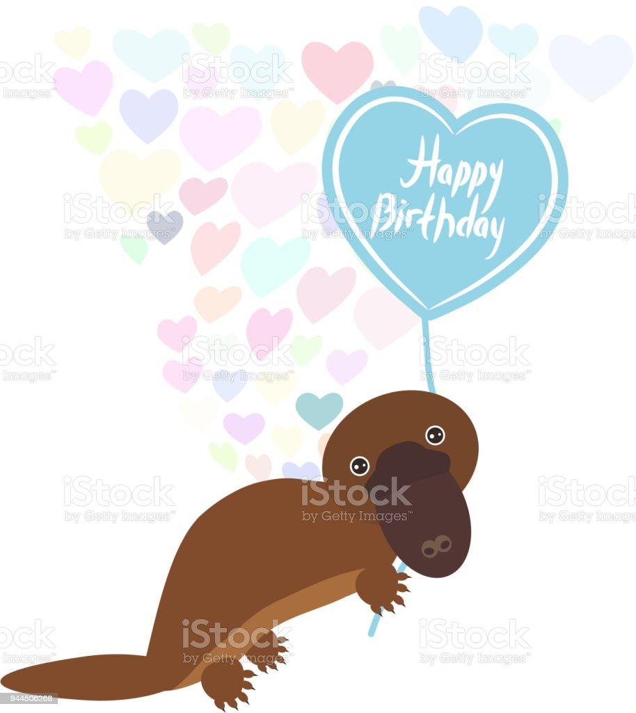 Alles Gute Zum Geburtstag Karte Cute Kawaii Schnabeltier Mit Ballon ...