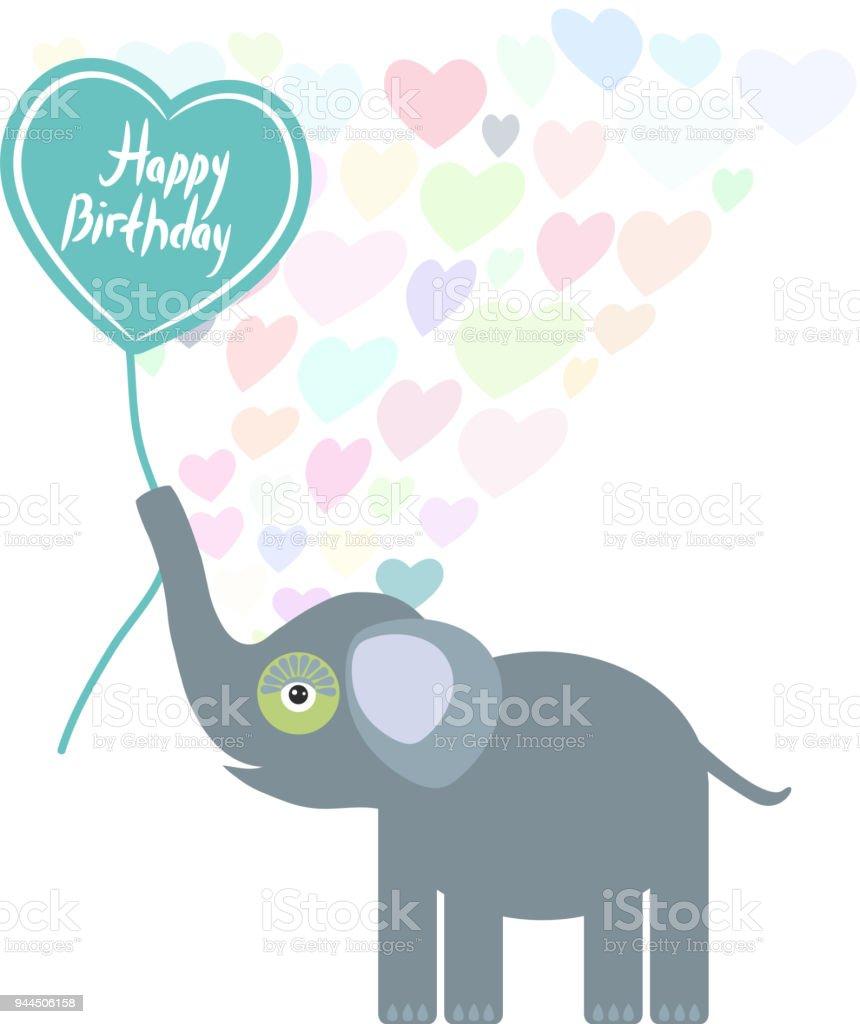 Gelukkige Verjaardag Kaart Ontwerp Schattig Kawaii Olifant Met