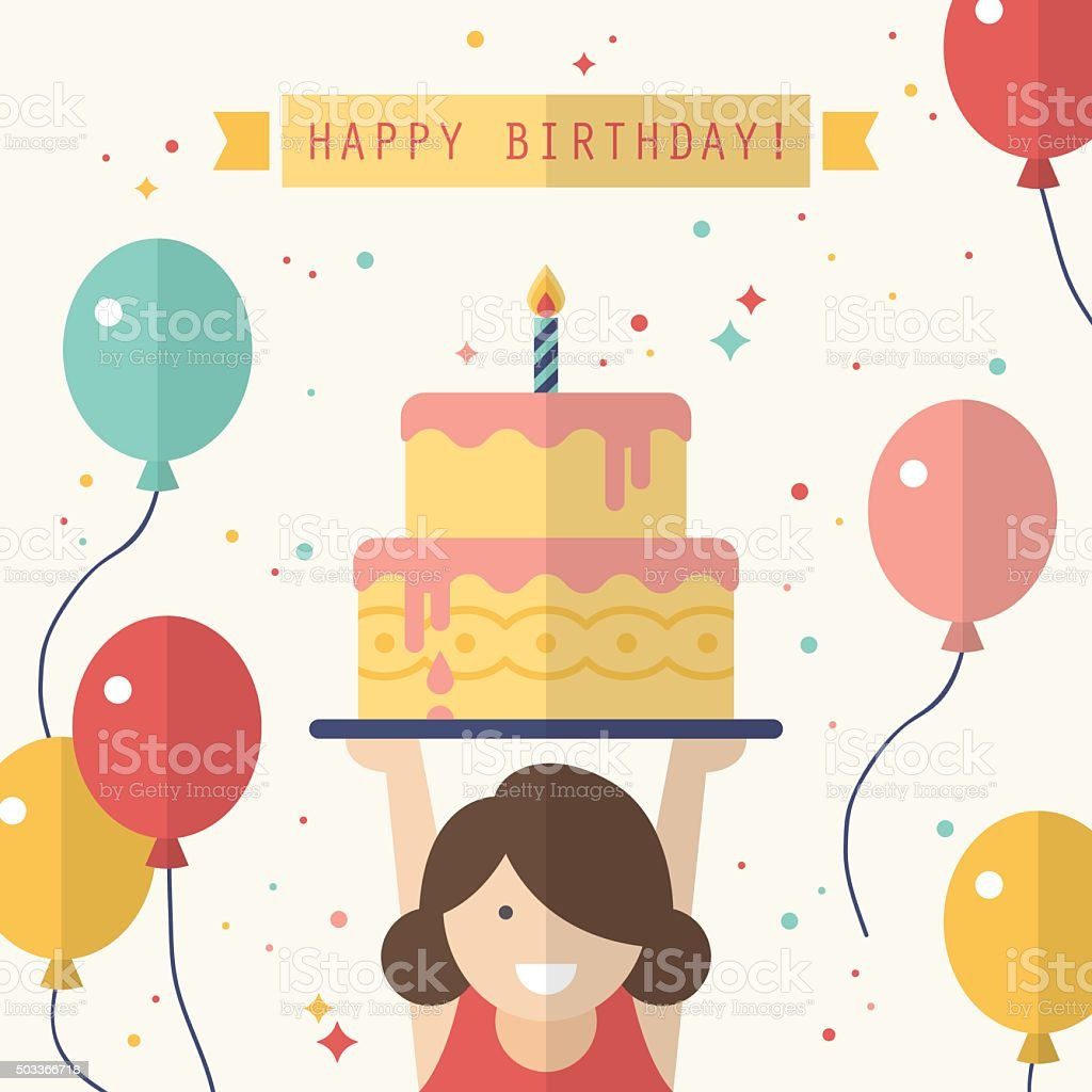 Happy birthday card design in flat style vector art illustration