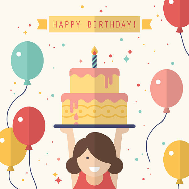 happy birthday card design in flat style - happy birthday cake stock illustrations, clip art, cartoons, & icons