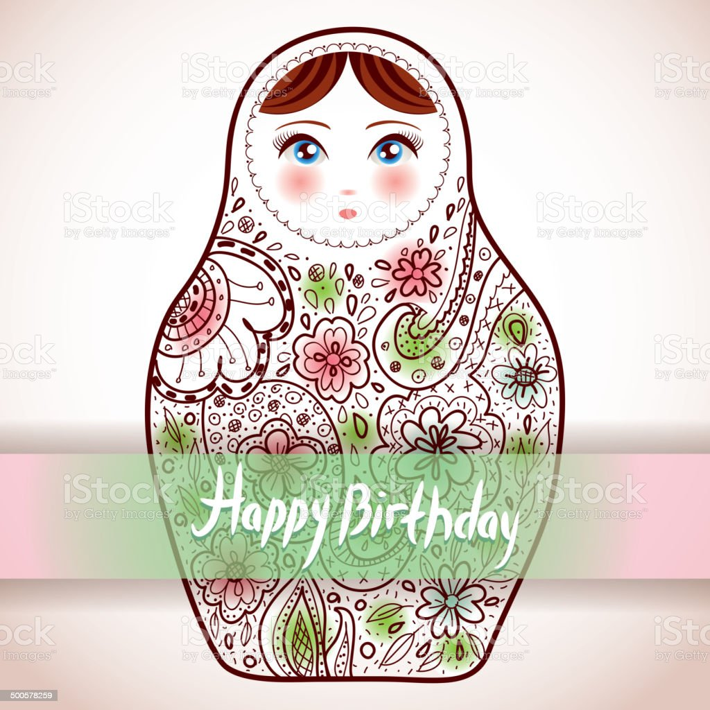 Happy birthday card design russian doll matrioshka babushka sketch happy birthday card design russian doll matrioshka babushka sketch royalty free happy birthday card kristyandbryce Image collections