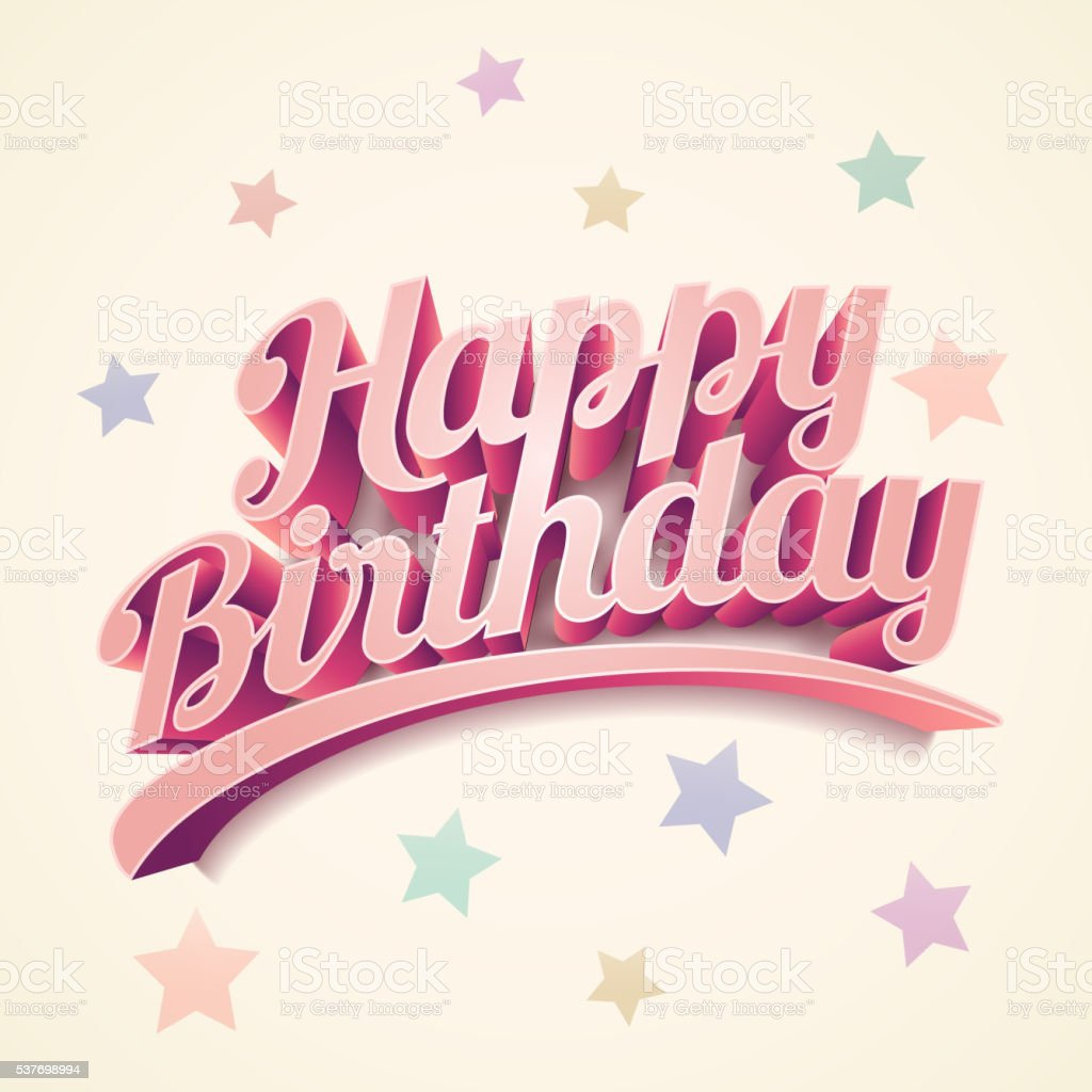 Happy Birthday Card Design Stock Illustration - Download Image Now - iStock