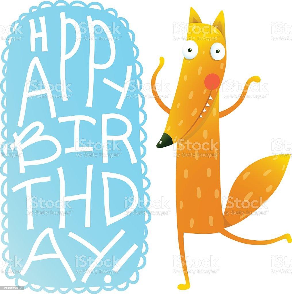 Happy Birthday Card Design With Cute Cartoon Fox Lizenzfreies