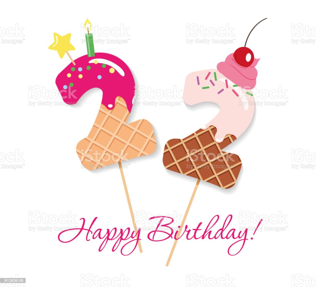 Happy Birthday Card Festliche Susse Numeri 22 Coctail Strohhalme Lustige Deko Figuren