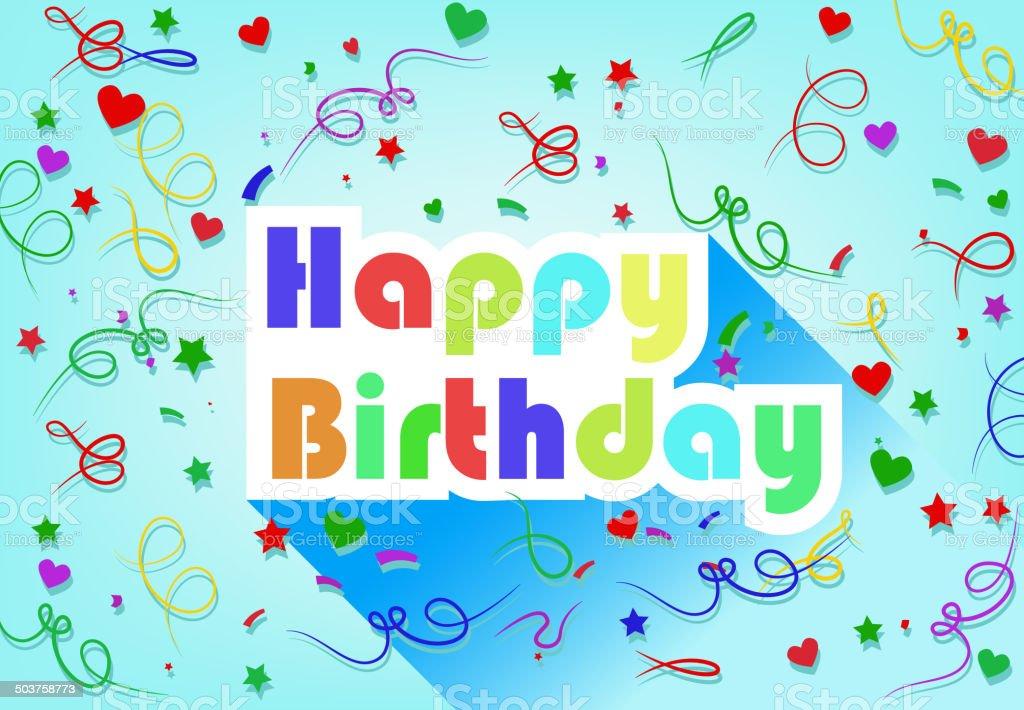 Happy Birthday Card Flat Design Mit Schleife Und Herz Lizenzfreies Flatdesign