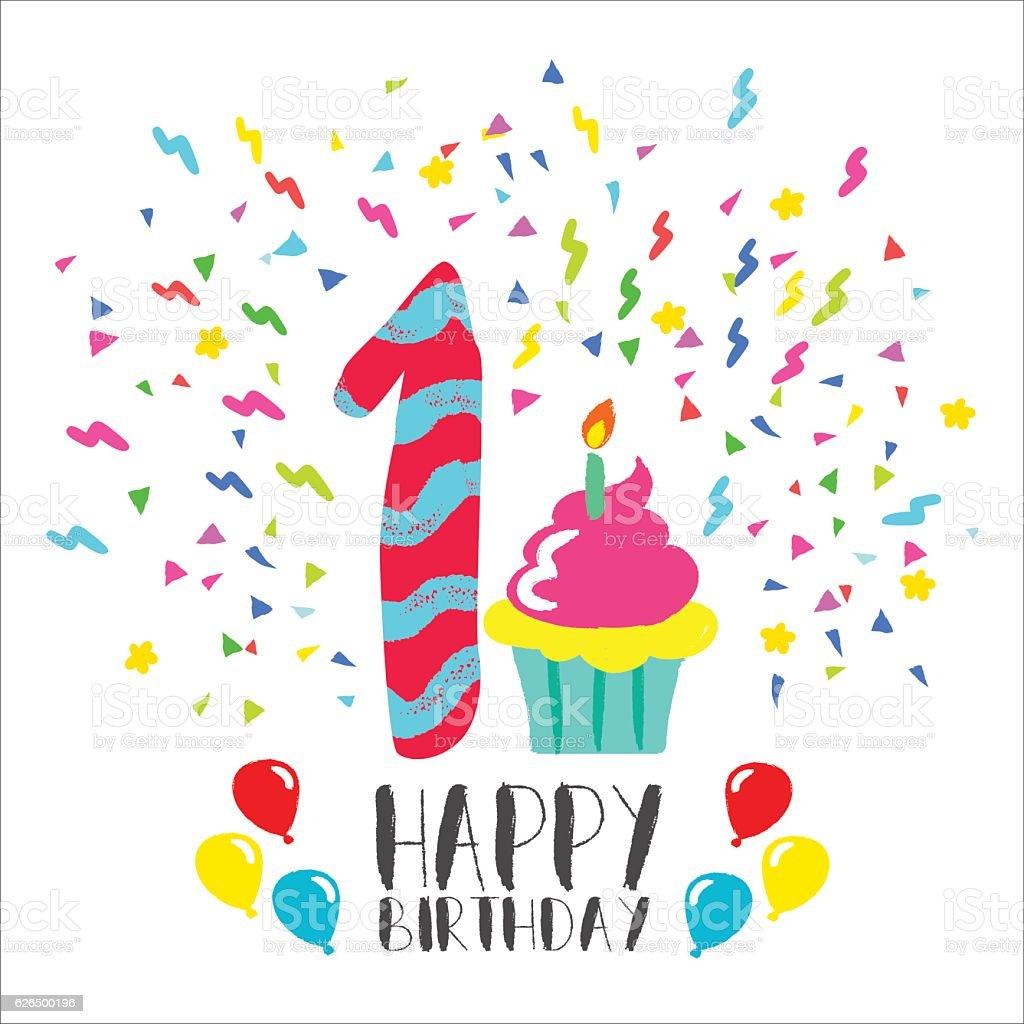 Happy Birthday Card For 1 Year Baby Fun Party Art Lizenzfreies