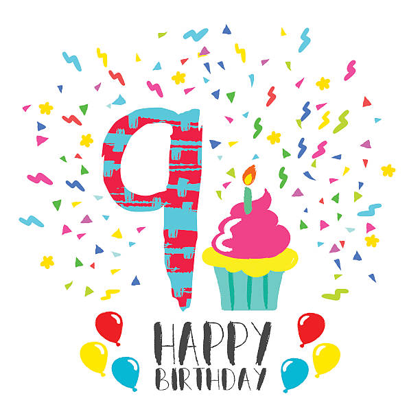Royalty Free Birthday Cake Font Number 9 Clip Art Vector Images