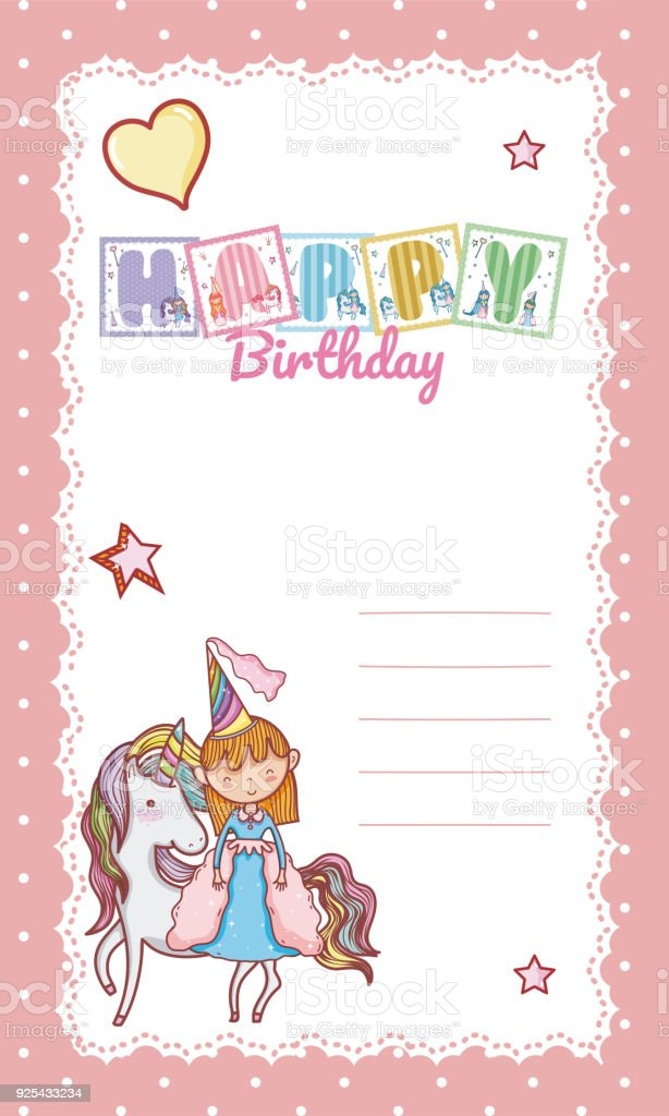 Happy Birthday Card For Little Girl Stock Vector Art More Images