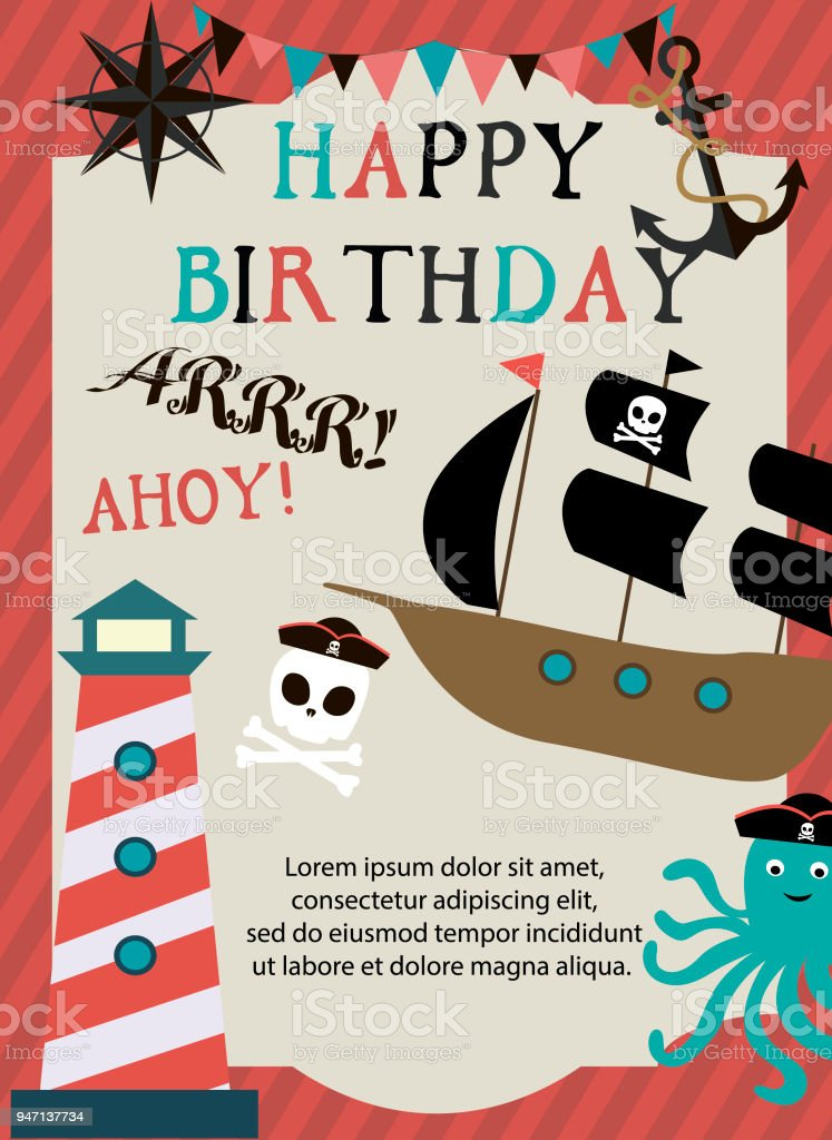 Happy Birthday Card For Pirate Party Stock Vector Art More Images