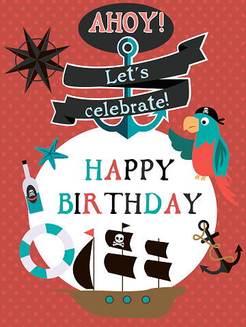 Happy Birthday Card For Pirate Party Stock Illustration Download Image Now Istock