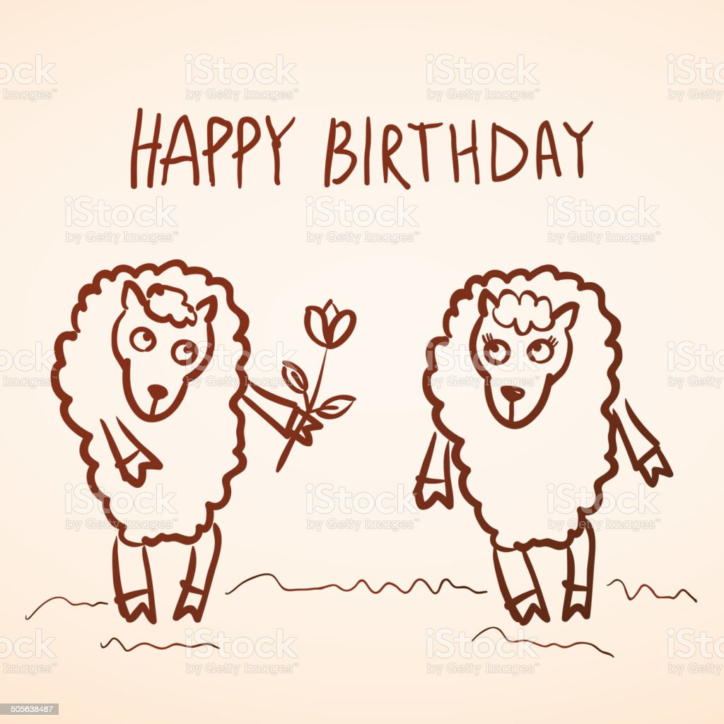 Happy Birthday Card Funny Sheep Girl Boy With Flower Sketch Stock