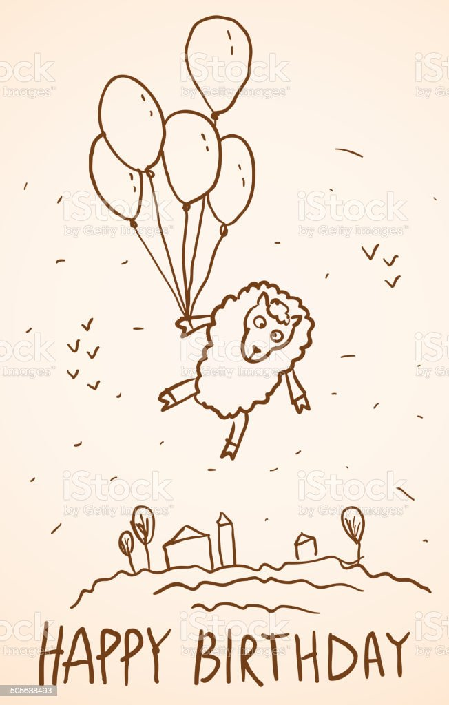 Happy Birthday Card Funny Sheep With Balloons Cityscape Sketch Stock